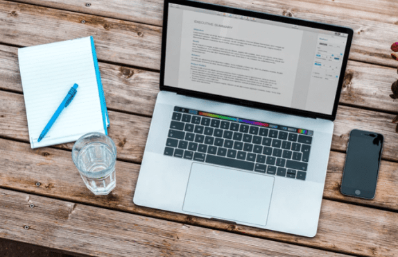 laptop and water